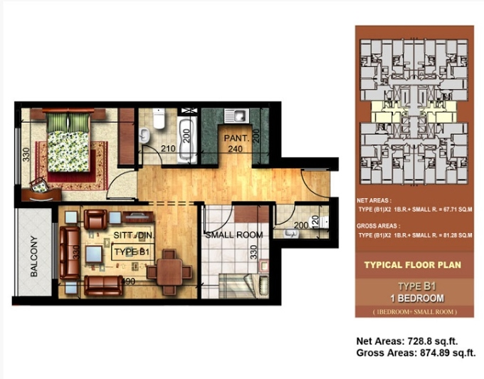 Planning of the apartment 1BR, 874.89 in Paradise Lakes Towers Emirates City, Ajman