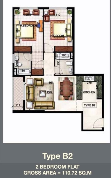 Planning of the apartment 2BR, 1191.78 in Paradise Lakes Towers Emirates City, Ajman