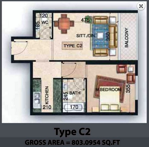 Planning of the apartment 1BR, 803.1 in Paradise Lakes Towers Emirates City, Ajman