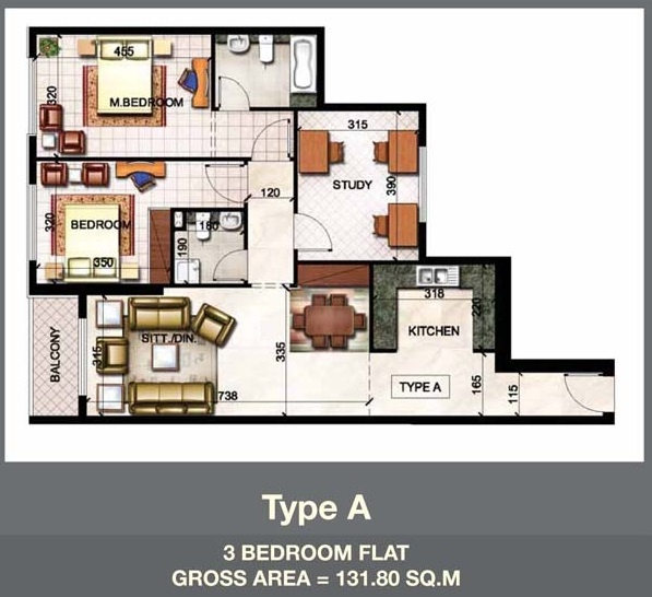 Planning of the apartment 3BR, 1418.68 in Paradise Lakes Towers Emirates City, Ajman