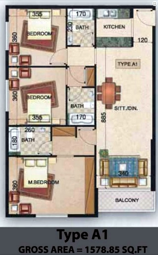 Planning of the apartment 3BR, 1578.85 in Paradise Lakes Towers Emirates City, Ajman