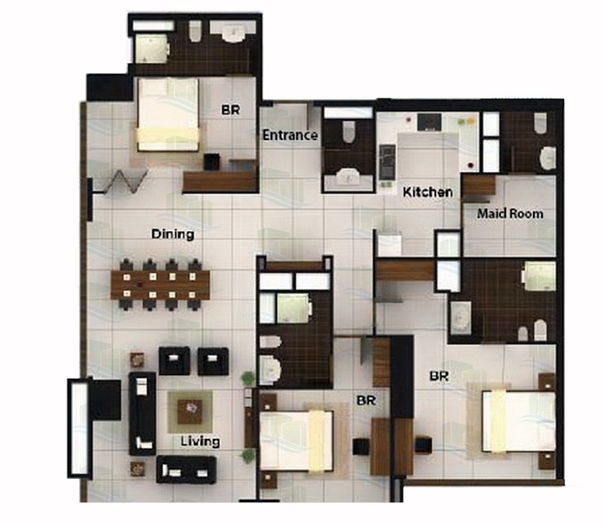 Planning of the apartment 1BR, 1722 in Al Durrah Tower, Abu Dhabi