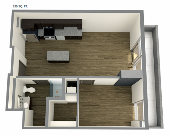 Planning of the apartment Studios, 639 in Union Tower, Ras Al Khaimah