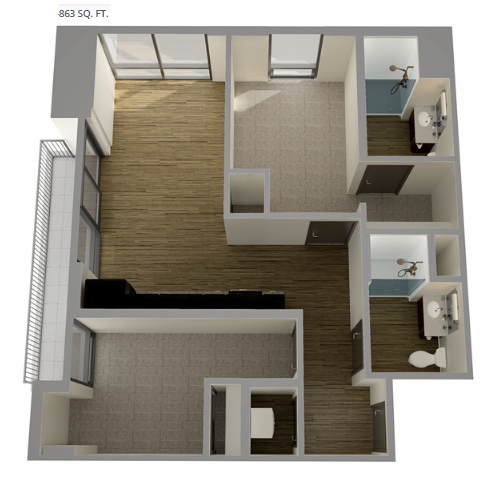 Planning of the apartment 1BR, 863 in Union Tower, Ras Al Khaimah