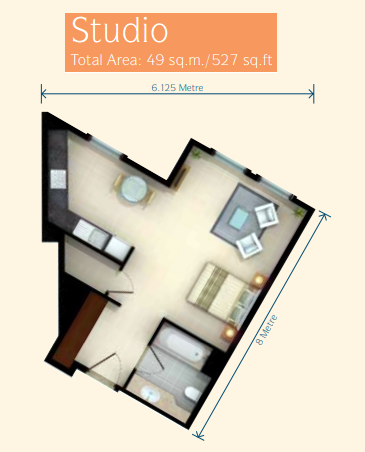 Planning of the apartment Studios, 527 in Discovery Gardens, Dubai