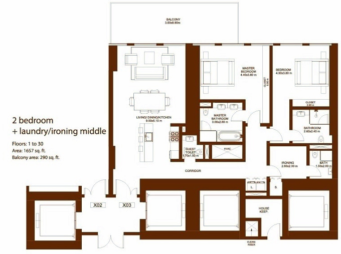 Planning of the apartment 2BR, 1657 in Dorra Bay Tower, Dubai