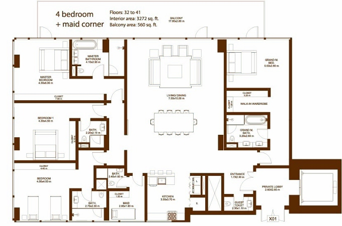 Planning of the apartment 4BR, 3272 in Dorra Bay Tower, Dubai