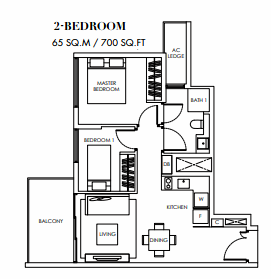 Planning of the apartment 2BR, 700 in Marina Bay Towers, Abu Dhabi