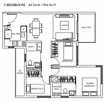 Planning of the apartment 3BR, 904 in Marina Bay Towers, Abu Dhabi