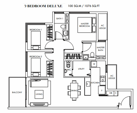 Planning of the apartment Deluxe Suites, 1076 in Marina Bay Towers, Abu Dhabi