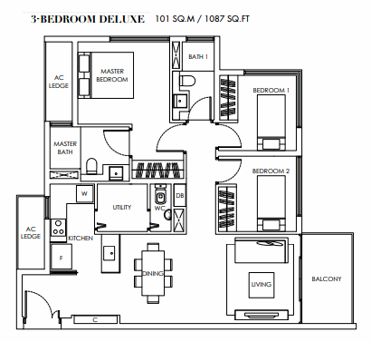 Planning of the apartment 3BR, 1087 in Marina Bay Towers, Abu Dhabi