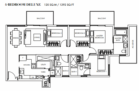 Planning of the apartment Deluxe Suites, 1292 in Marina Bay Towers, Abu Dhabi