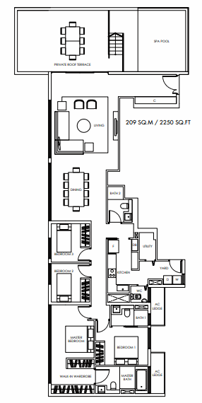 Planning of the apartment Penthouses, 2250 in Marina Bay Towers, Abu Dhabi
