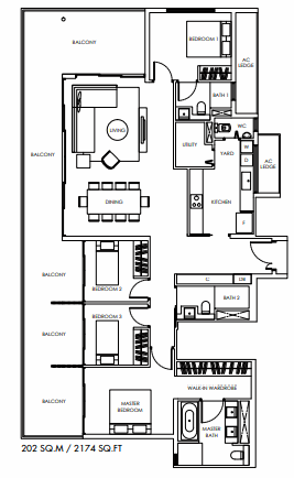 Planning of the apartment Penthouses, 2174 in Marina Bay Towers, Abu Dhabi