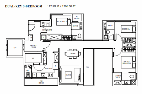 Planning of the apartment 3BR, 1206 in Marina Bay Towers, Abu Dhabi