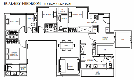 Planning of the apartment 4BR, 1227 in Marina Bay Towers, Abu Dhabi