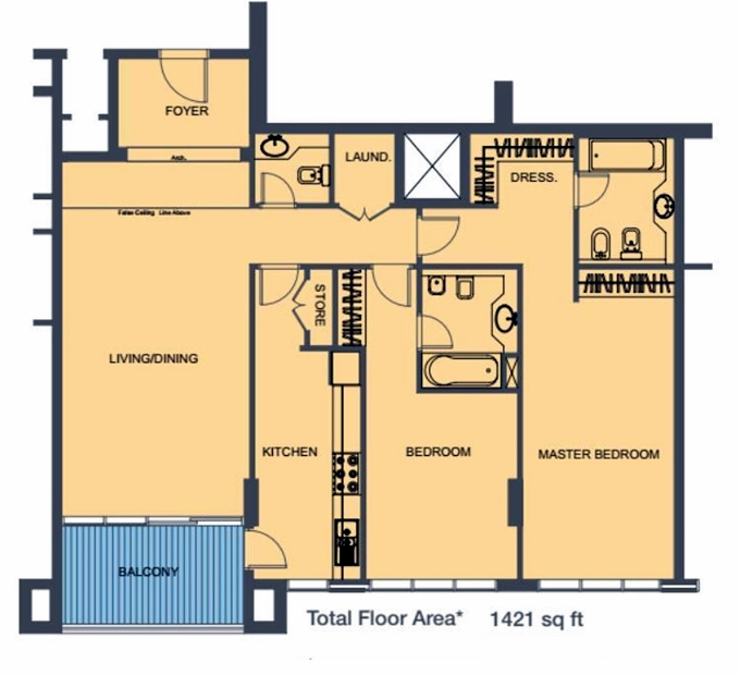 Planning of the apartment 2BR, 1421 in Blu Mirage, Ras Al Khaimah