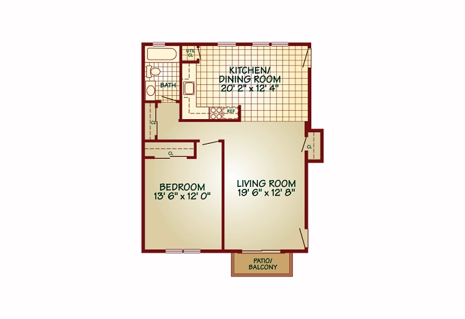 Planning of the apartment 1BR, 987 in Somerset Mews, Dubai