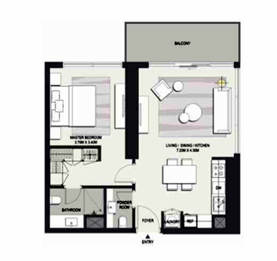 Planning of the apartment 1BR, 980 in Marasi Business Bay Water Homes, Dubai