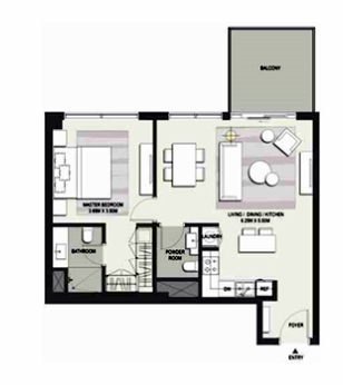 Planning of the apartment 2BR, 1564 in Marasi Business Bay Water Homes, Dubai