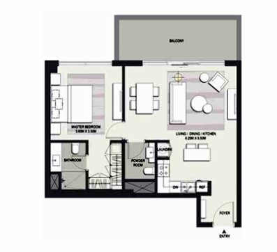 Planning of the apartment 2BR, 1465 in Marasi Business Bay Water Homes, Dubai