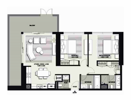 Planning of the apartment 2BR, 1542 in Marasi Business Bay Water Homes, Dubai