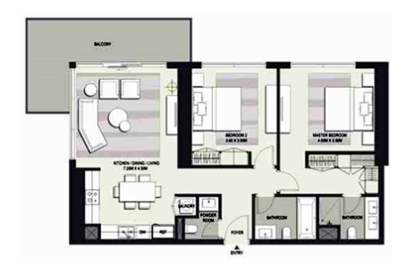 Planning of the apartment 2BR, 1652 in Marasi Business Bay Water Homes, Dubai