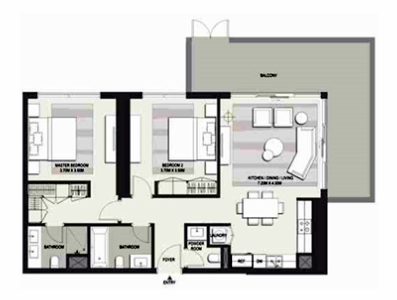 Planning of the apartment 2BR, 1650 in Marasi Business Bay Water Homes, Dubai