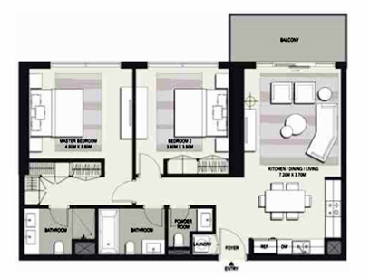 Planning of the apartment 2BR, 1600 in Marasi Business Bay Water Homes, Dubai