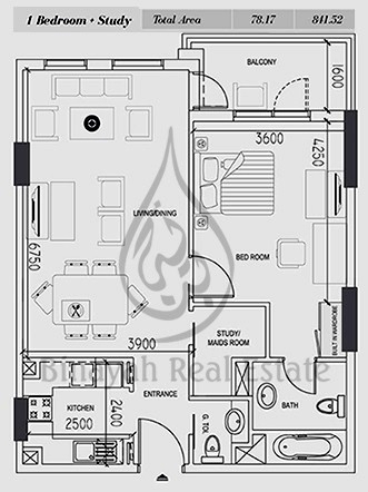 Planning of the apartment 1BR, 811 in Silicon Gates I, Dubai