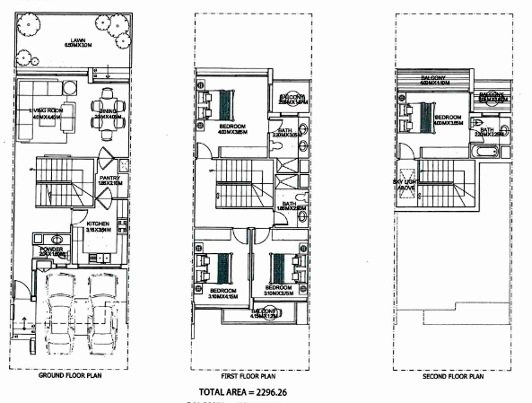 Planning of the apartment Townhouse, 2296 in Ritaj, Dubai
