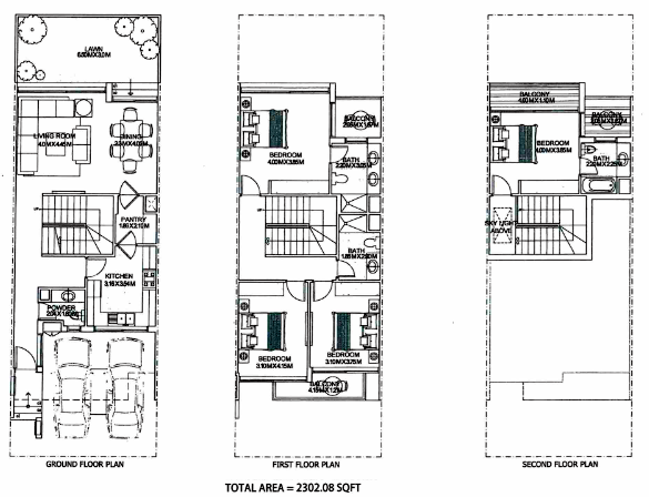 Planning of the apartment Townhouses, 2302 in Ritaj, Dubai