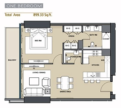 Planning of the apartment 1BR, 899 in Silicon Gates II, Dubai