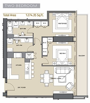Planning of the apartment 2BR, 1274 in Silicon Gates II, Dubai