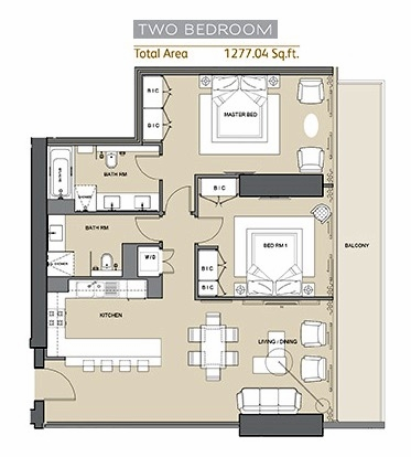 Planning of the apartment 2BR, 1277 in Silicon Gates II, Dubai