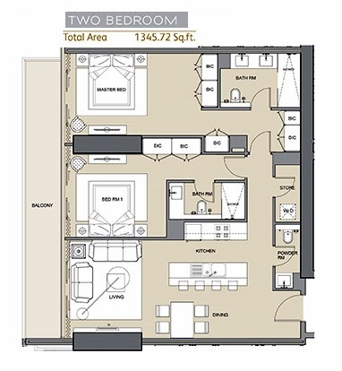 Planning of the apartment 2BR, 1346 in Silicon Gates II, Dubai