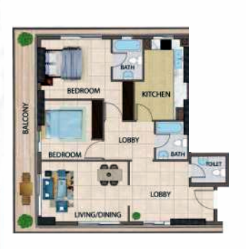 Planning of the apartment 2BR, 1599 in Silicon Gates III, Dubai