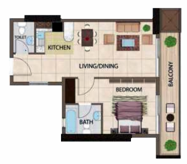 Planning of the apartment 1BR, 1124 in Silicon Gates III, Dubai