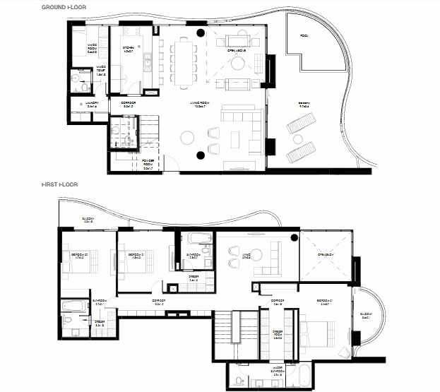 Planning of the apartment Duplexes, 3444.4 in NorthBay Residences, Ras Al Khaimah