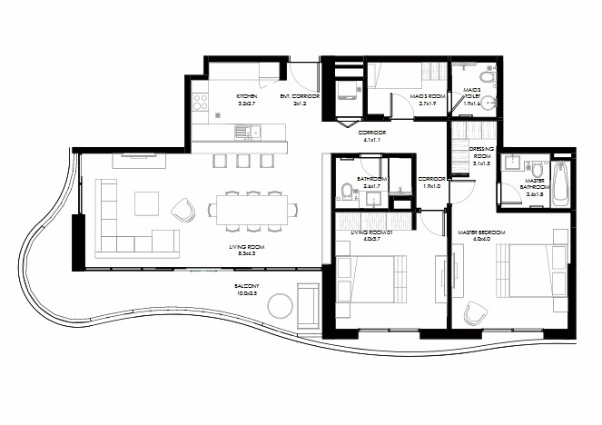 Planning of the apartment 2BR, 1356 in NorthBay Residences, Ras Al Khaimah