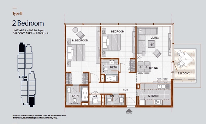 Planning of the apartment 2BR, 1148.51 in Gateway Residences, Ras Al Khaimah