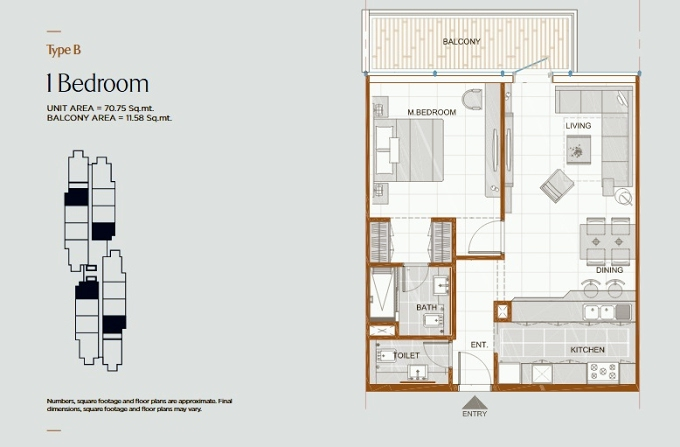 Planning of the apartment 1BR, 753.47 in Gateway Residences, Ras Al Khaimah