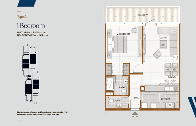 Planning of the apartment 1BR, 761.55 in Gateway Residences, Ras Al Khaimah