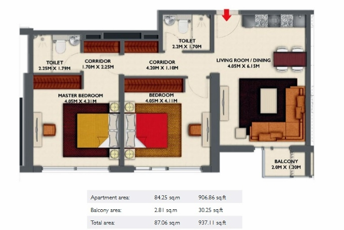 Planning of the apartment 2BR, 937.11 in Dragon Towers, Dubai