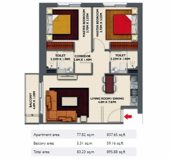 Planning of the apartment 2BR, 895.88 in Dragon Towers, Dubai