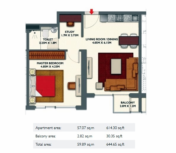 Planning of the apartment 1BR, 644.65 in Dragon Towers, Dubai