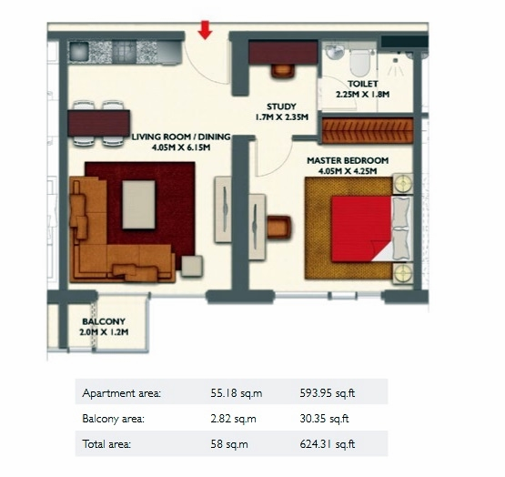 Planning of the apartment 1BR, 624.31 in Dragon Towers, Dubai