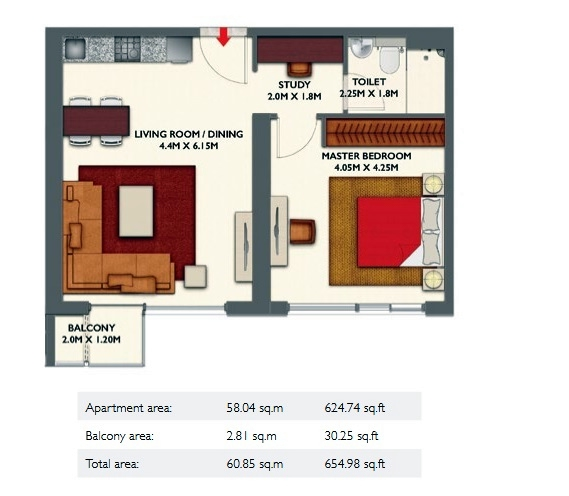 Planning of the apartment 1BR, 654.98 in Dragon Towers, Dubai