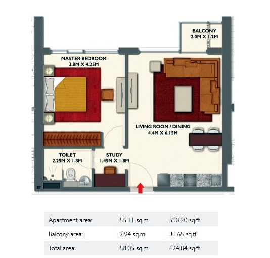 Planning of the apartment 1BR, 624.84 in Dragon Towers, Dubai