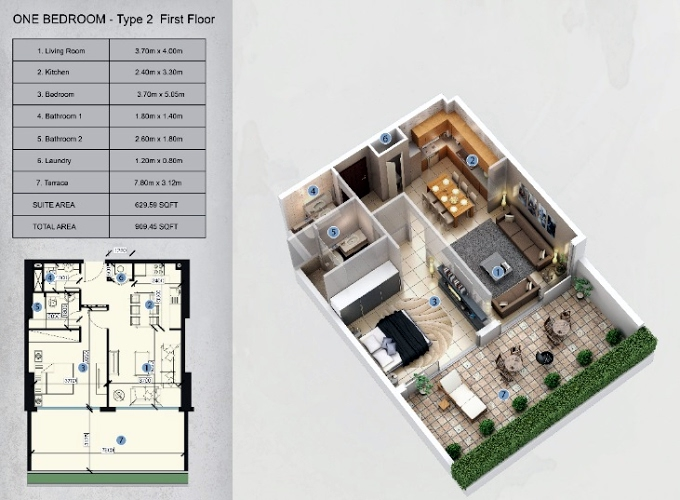 Planning of the apartment 1BR, 909.45 in Farhad Azizi Residence, Dubai